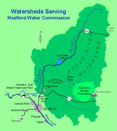 Map of watersheds serving Medford Water Commission